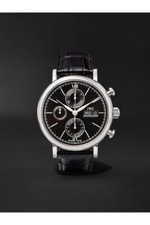 IWC SCHAFFHAUSEN Herren Uhren - Portofino Automatic Chronograph 42mm Stainless Steel and Alligator Watch, Ref. No. IW391008