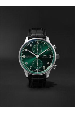 IWC SCHAFFHAUSEN Herren Uhren - Portugieser Automatic Chronograph 41mm Stainless Steel and Alligator Watch, Ref. No. IW371615