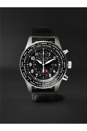 IWC SCHAFFHAUSEN Herren Uhren - Pilot's Timezoner Automatic Chronograph 46mm Stainless Steel and Leather Watch, Ref. No. IW395001