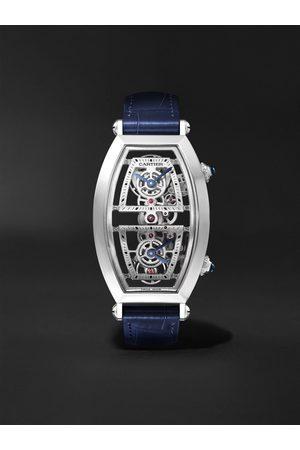 Cartier Herren Uhren - Tonneau XL Dual Time Limited Edition Hand-Wound Skeleton 29.8mm Platinum and Alligator Watch, Ref. No. WHTN0006