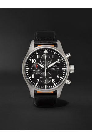 IWC SCHAFFHAUSEN Herren Uhren - Pilot's Automatic Chronograph 43mm Stainless Steel and Leather Watch, Ref. No. IW377709