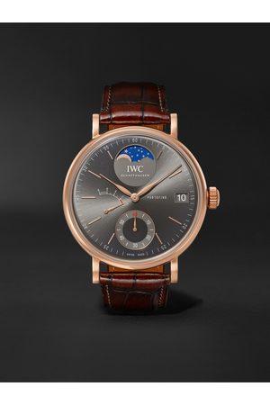 IWC SCHAFFHAUSEN Portofino Hand-Wound Moon Phase 45mm 18-Karat Rose Gold and Alligator Watch, Ref. No. IW516403