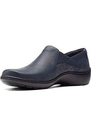 Clarks Damen Cora Flieder Loafer, (Marineblaue Leder-/Textil-Kombination.)