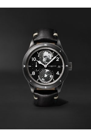 Montblanc Herren Uhren - 1858 Geosphere Limited Edition Automatic 42mm Distressed Stainless Steel and Leather Watch, Ref. No. 128257