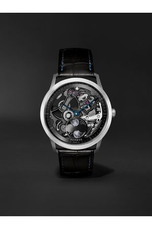 Hermès Herren Uhren - Slim d'Hermès Squelette Lune 39.5mm Automatic Titanium and Alligator Watch, Ref. No. 053606WW00