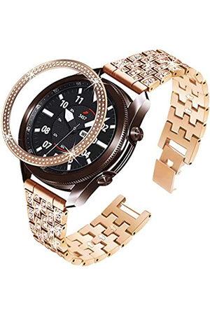 Bekomo Armband kompatibel mit Galaxy Watch 3, 41 mm mit Schutzlünette, für Damen und Herren, mit Glitzersteinen