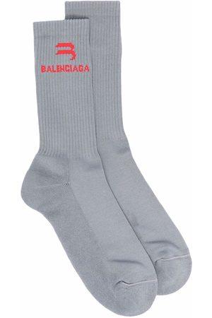 Balenciaga Herren Socken & Strümpfe - Intarsien-Socken mit Logo