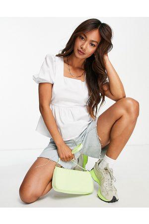 Glamorous – Bluse aus weißer Baumwolle mit eckigem Ausschnitt und Puffärmeln
