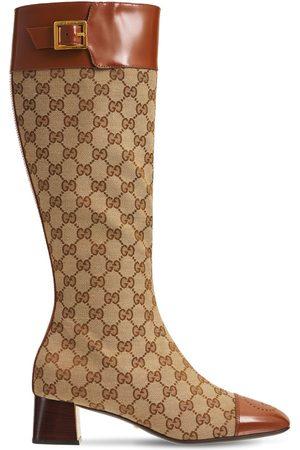 """Gucci Damen Stiefel - 45mm Hohe Stiefel Aus Canvas Und Leder """"ellis"""""""
