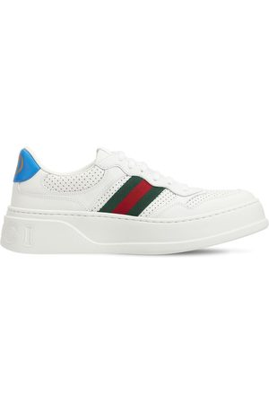 "Gucci Damen Sneakers - 50 Mm Sneakers Aus Leder Mit Webdetail ""chunky B"""