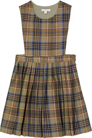 Caramel Kariertes Kleid Jupiter aus Wolle