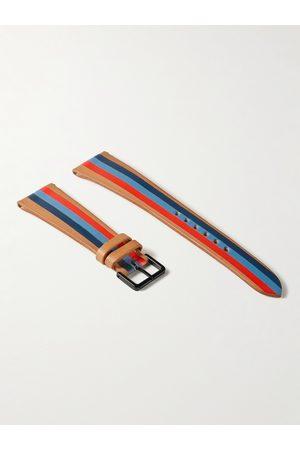 laCalifornienne Herren Uhren - Blue Thunder Striped Leather Watch Strap
