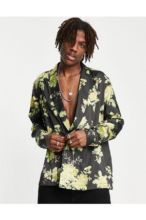 ASOS – Zweireihiges Satinhemd in mit Blumenmuster