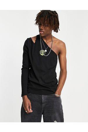 ASOS – Langärmliges T-Shirt in mit schmalem Schnitt, One-Shoulder-Träger und Drachen-Stickerei