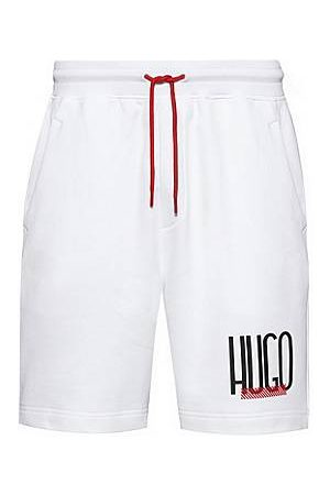 HUGO BOSS Regular-fit shorts in French terry with logo print