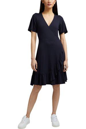 Esprit Damen Freizeitkleider - Wickelkleid, in Wickeloptik mit Rüschenkante