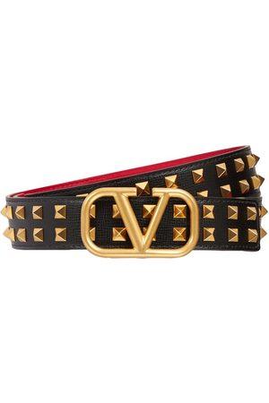 VALENTINO GARAVANI 30mm Breiter Ledergürtel Mit Logo