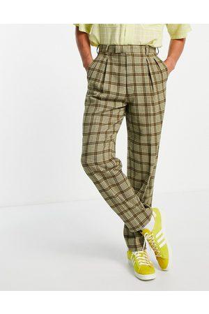 ASOS – karierte, elegante Hose aus Wollmischgewebe mit schmalem Schnitt und hohem Bund
