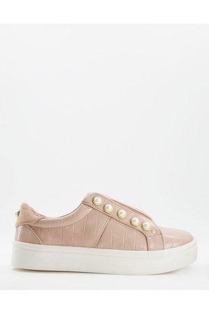 Miss KG – Kassie – Schnür-Sneaker mit Perlendetail in Zartrosa
