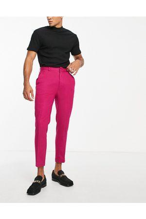 ASOS – Elegante Hose in Fuchsia aus Kreppstoff mit schmalem Schnitt und hohem Bund