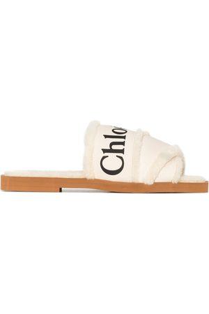 Chloé Woody logo-tape flat sandals