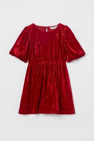 H&M Mädchen Kleider - Velourskleid mit Puffärmeln
