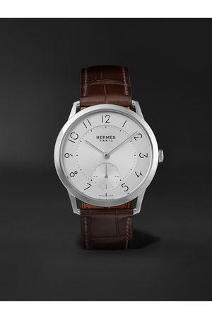 Hermès Herren Uhren - Slim Acier Automatic 39.5mm Stainless Steel and Alligator Watch, Ref. No. 041760WW00